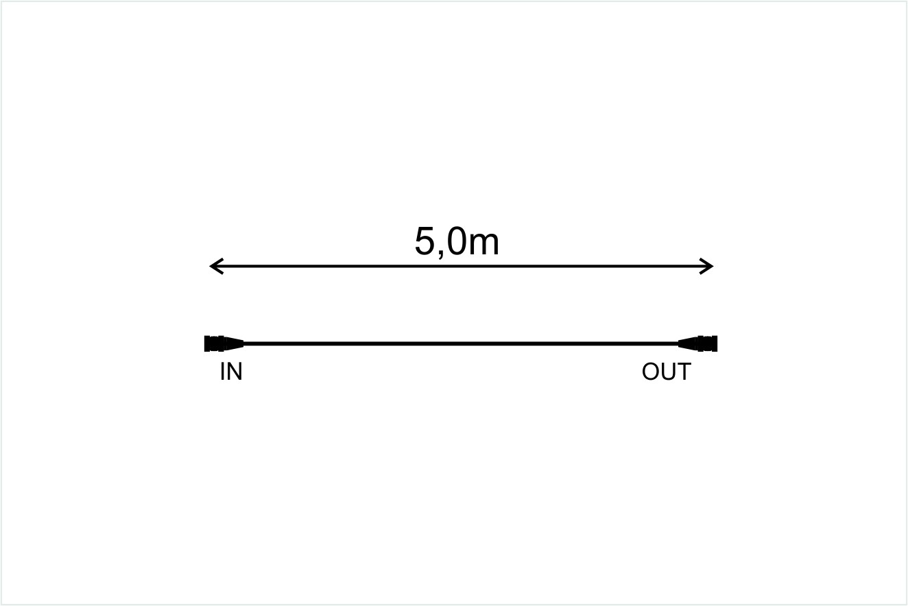 Pikendusjuhe must, 5m, 1in-1out